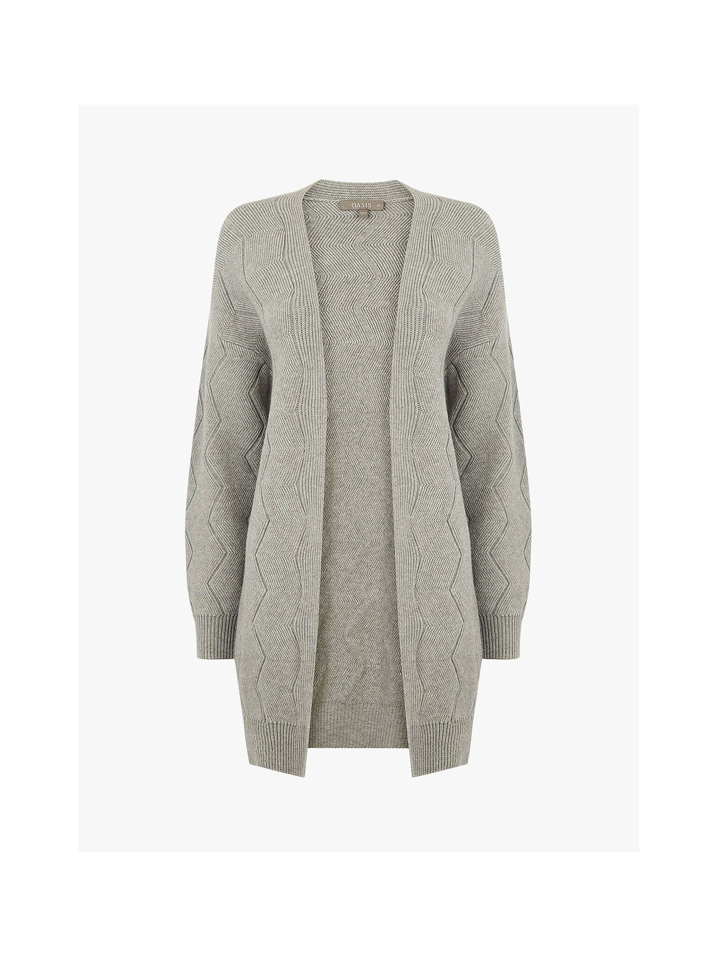 M /& S COLLECTION PURE CASHMERE SILVER GREY MULTI STITCH OPEN FRONT CARDIGAN