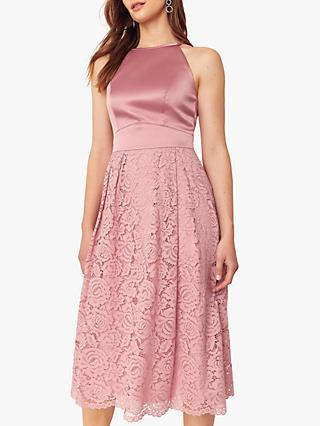 Oasis Evie Satin Bodice Lace Midi Dress