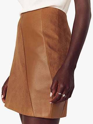 Oasis Faux Leather Mini Skirt, Tan