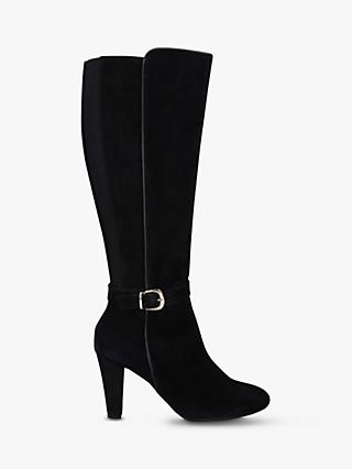 Carvela Comfort Villa Suede Block Heel Knee High Boots, Black