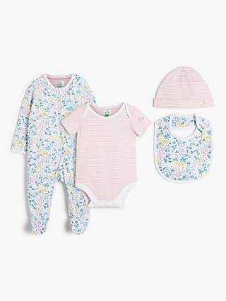 John Lewis & Partners Baby GOTS Organic Cotton Floral Chick Sleepsuit, Bodysuit, Hat and Bib Set, Pink/Multi