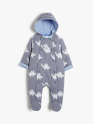 John Lewis & Partners Baby GOTS Organic Cotton Dinosaur Stripe All-in-One Pramsuit, Blue