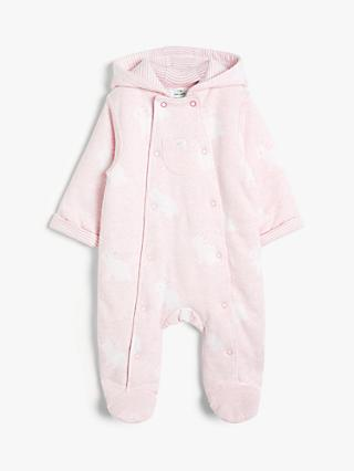 John Lewis & Partners Baby Bunny Wadded All-in-One Pramsuit, Pale Pink