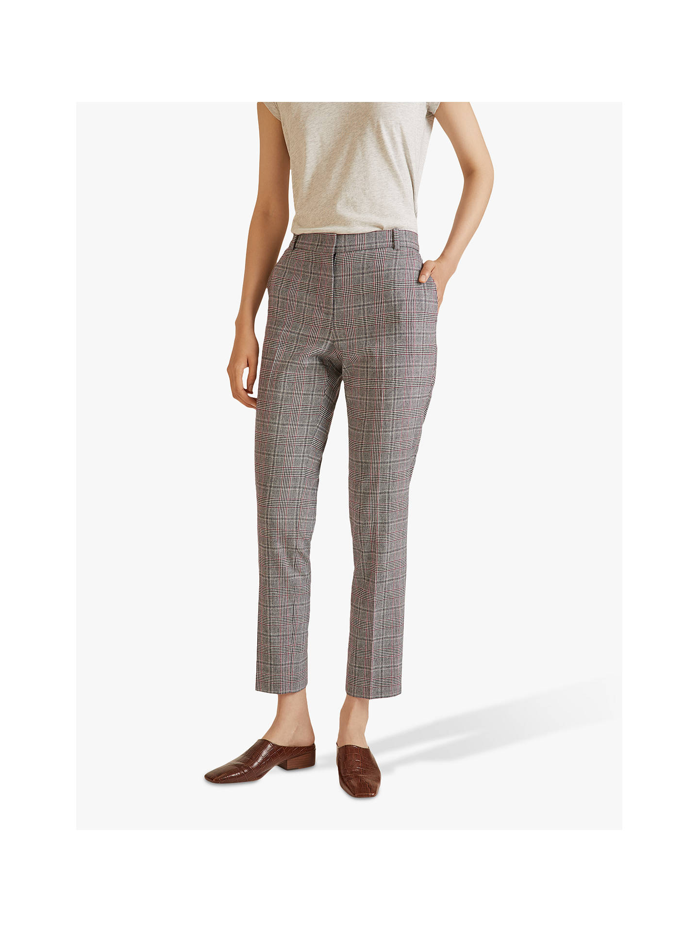 Buy Jigsaw Prince of Wales Check Trousers, Grey, 6 Online at johnlewis.com