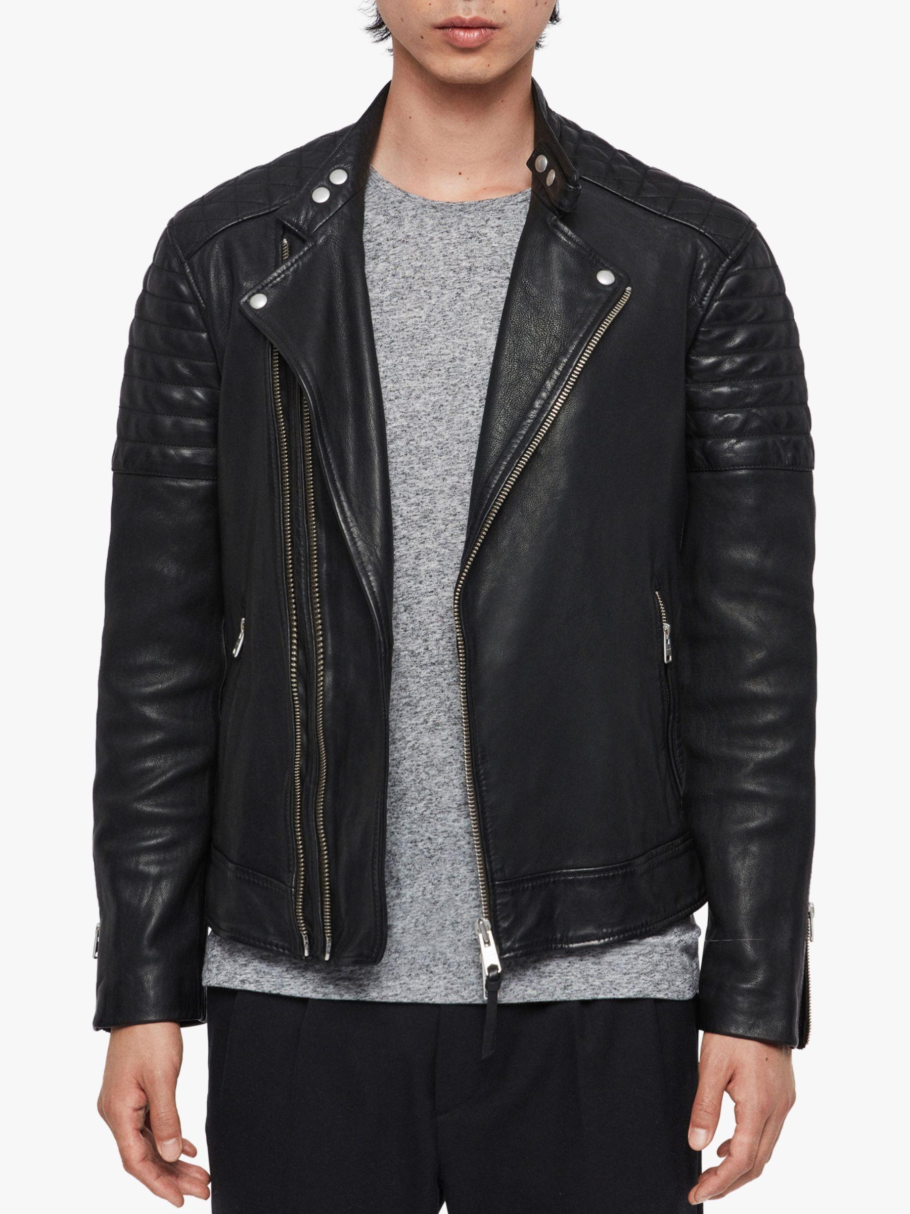 AllSaints Rigby Leather Biker Jacket, Black at John Lewis