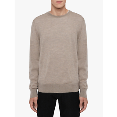 AllSaints Ode Cashmere Crew Jumper, Fawn Brown Marl
