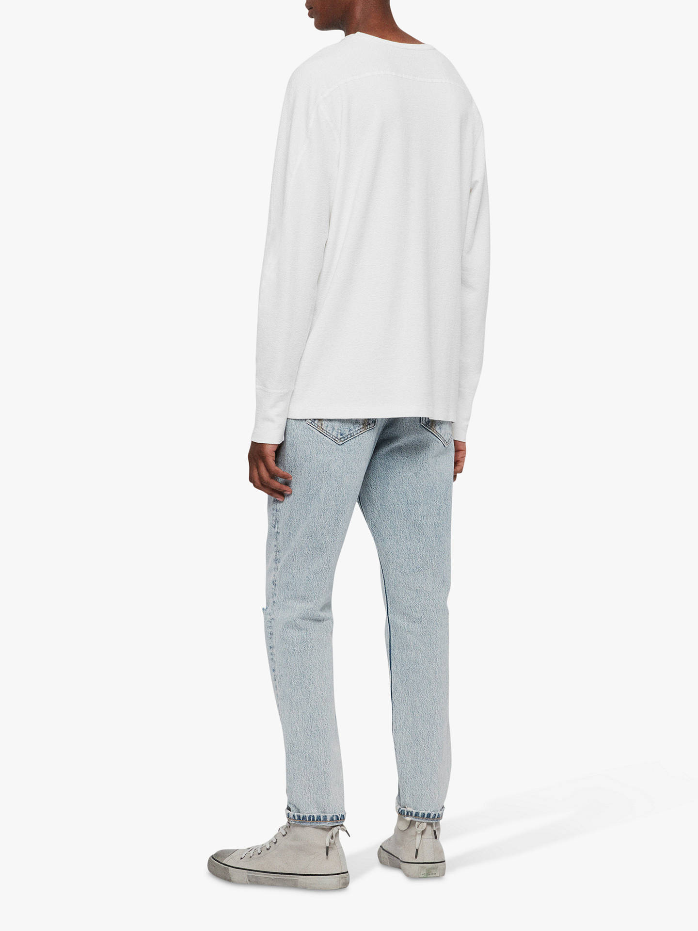 Buy AllSaints Gavin Long Sleeve Top, Chalk White, XS Online at johnlewis.com