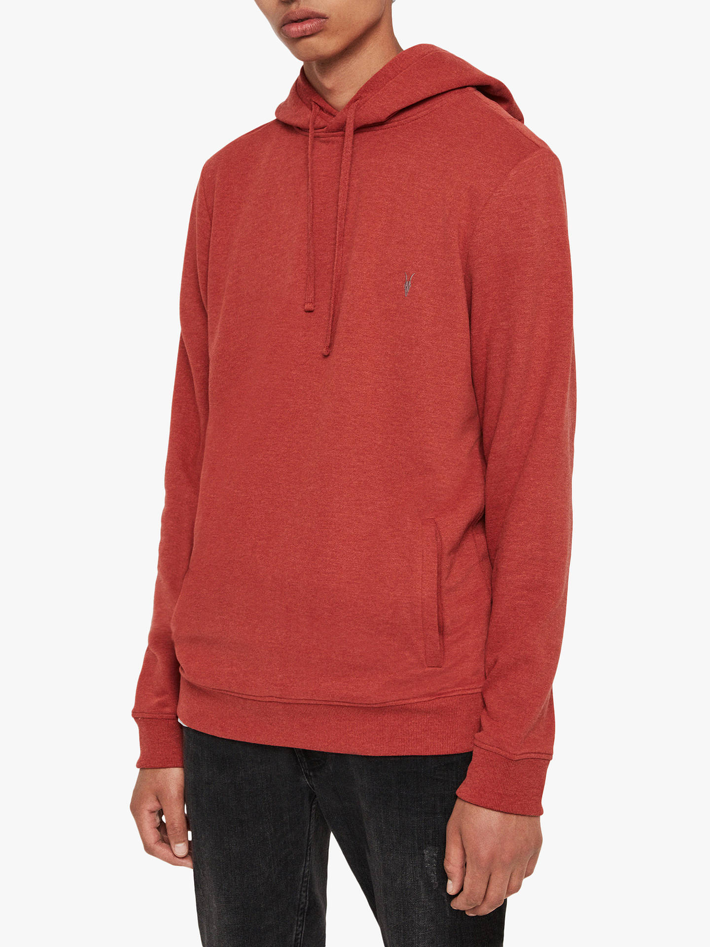 Buy AllSaints Raven Hoodie, Brick Red Marl, XS Online at johnlewis.com