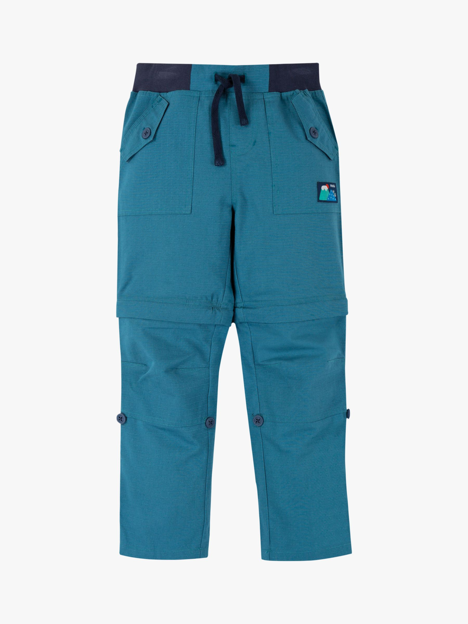 Frugi Frugi Children's GOTS Organic Cotton Rip Stop Zip Off Trousers, Blue