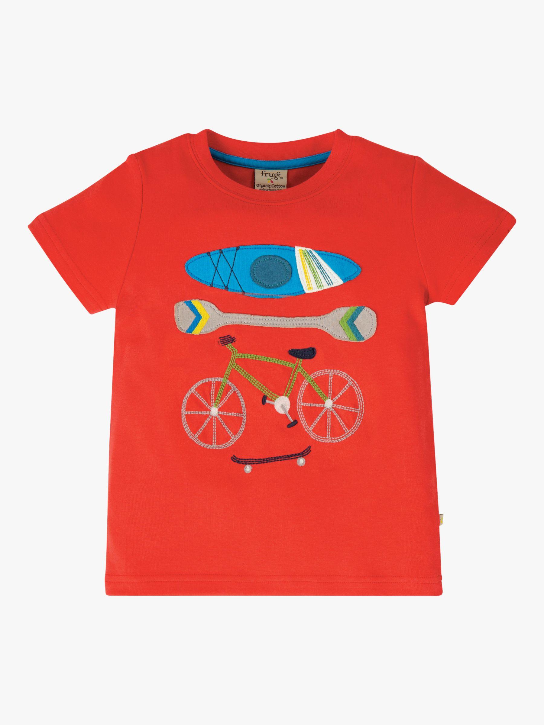 Frugi Frugi Children's GOTS Organic Cotton Bike T-Shirt, Red