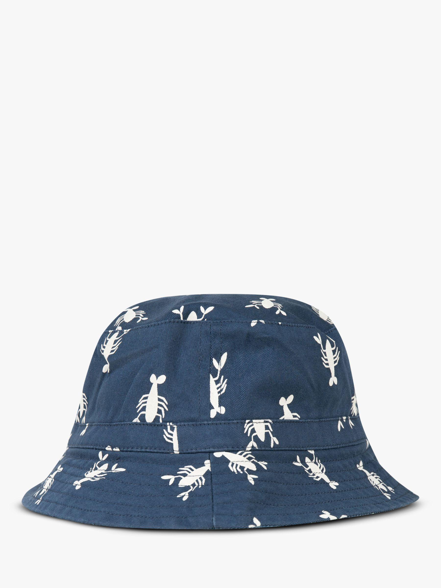Frugi Frugi Children's GOTS Organic Cotton Ross Reversible Lobster Hat, Blue