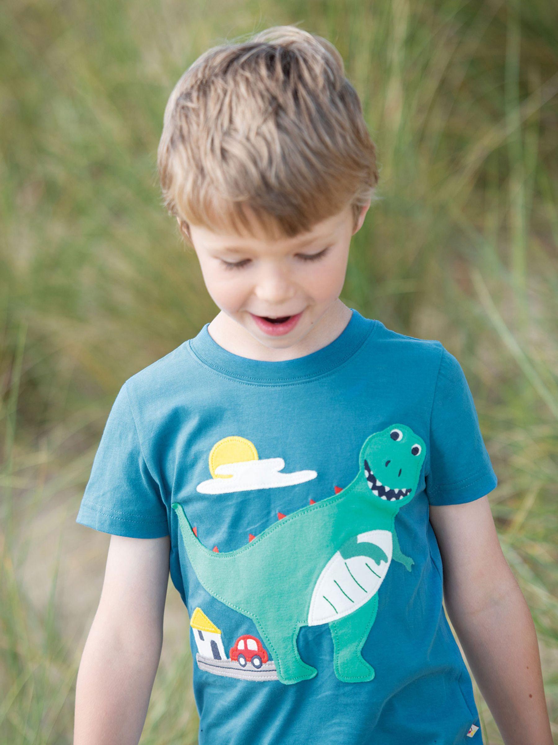 Frugi Frugi Children's GOTS Organic Cotton Dinosaur T-Shirt, Blue