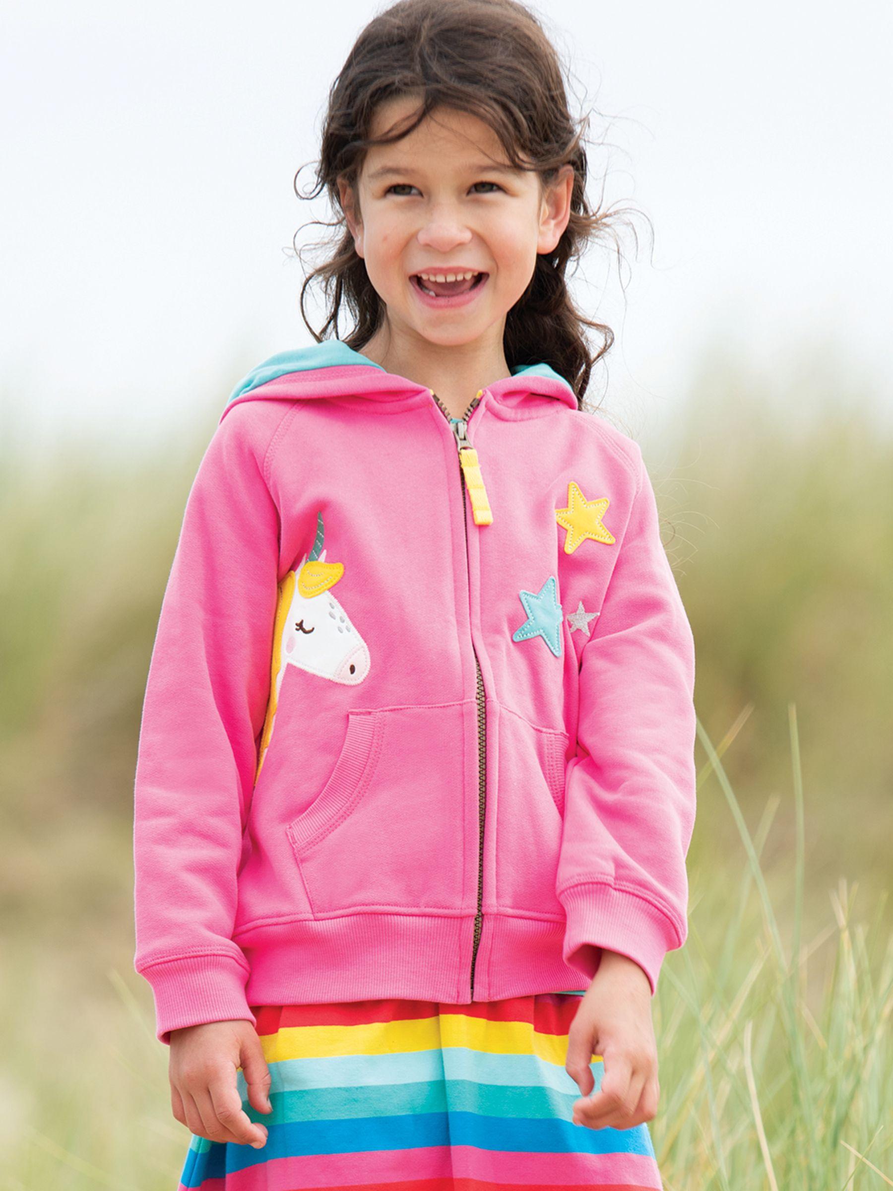 Frugi Frugi Children's GOTS Organic Cotton Harley Unicorn Hoodie, Pink