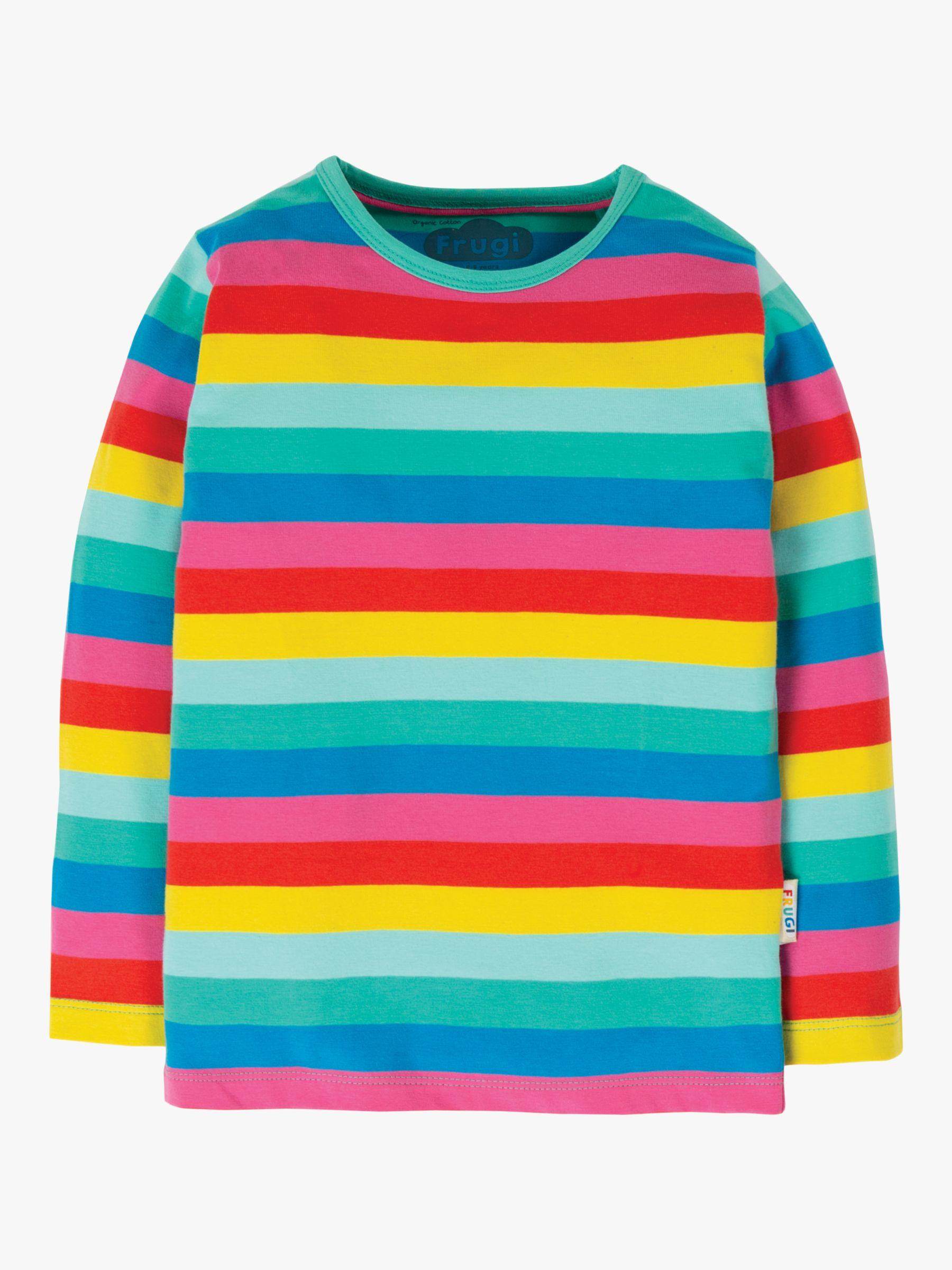Frugi Frugi Children's GOTS Organic Cotton Long Sleeve Rainbow Top, Multi