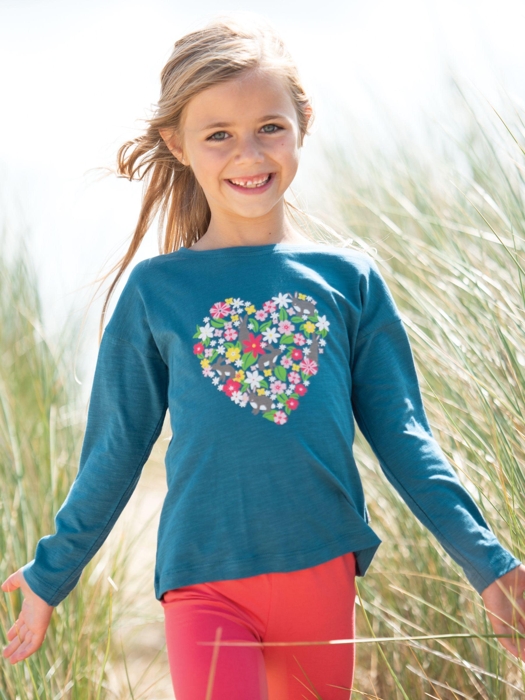 Frugi Frugi Children's GOTS Organic Cotton Heart Top, Blue