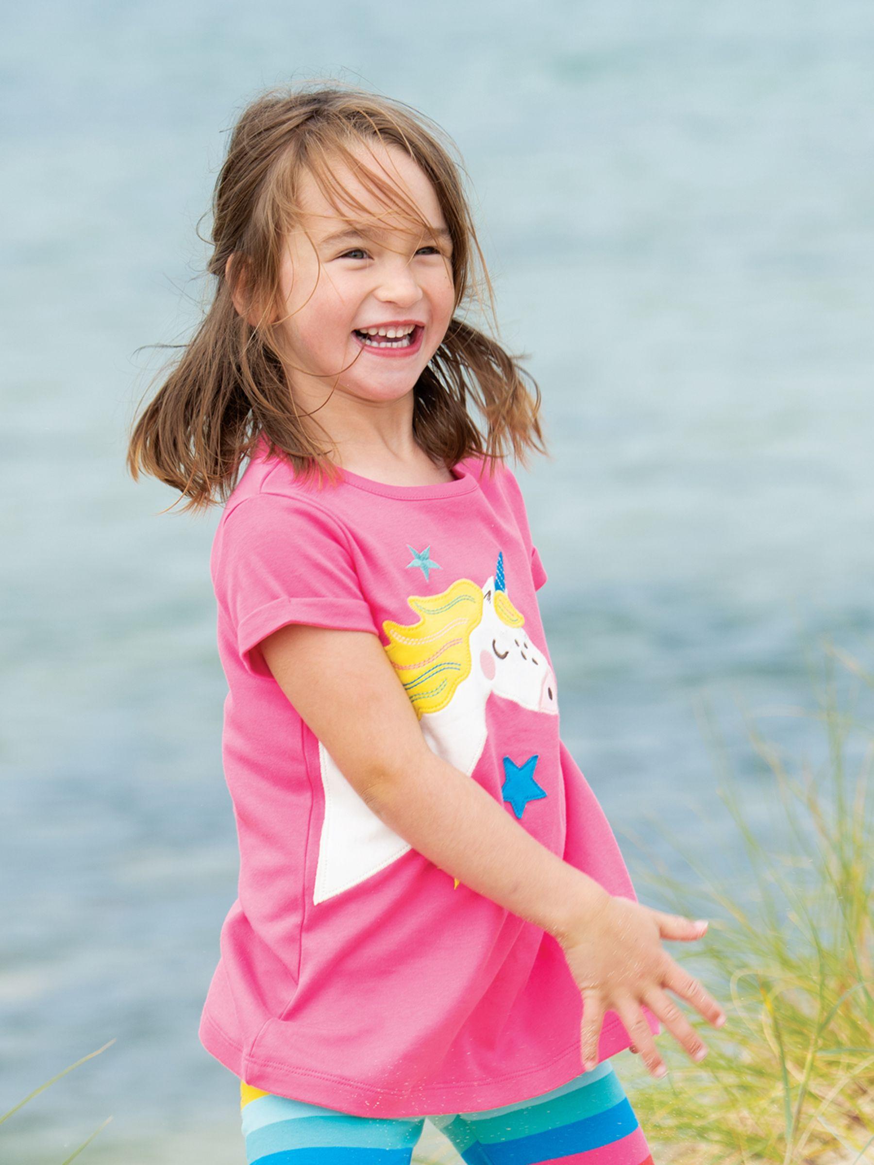 Frugi Frugi Children's GOTS Organic Cotton Lizzie Unicorn T-Shirt, Pink