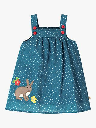 Frugi Baby GOTS Organic Cotton Linen-Blend Hallie Dress, Blue