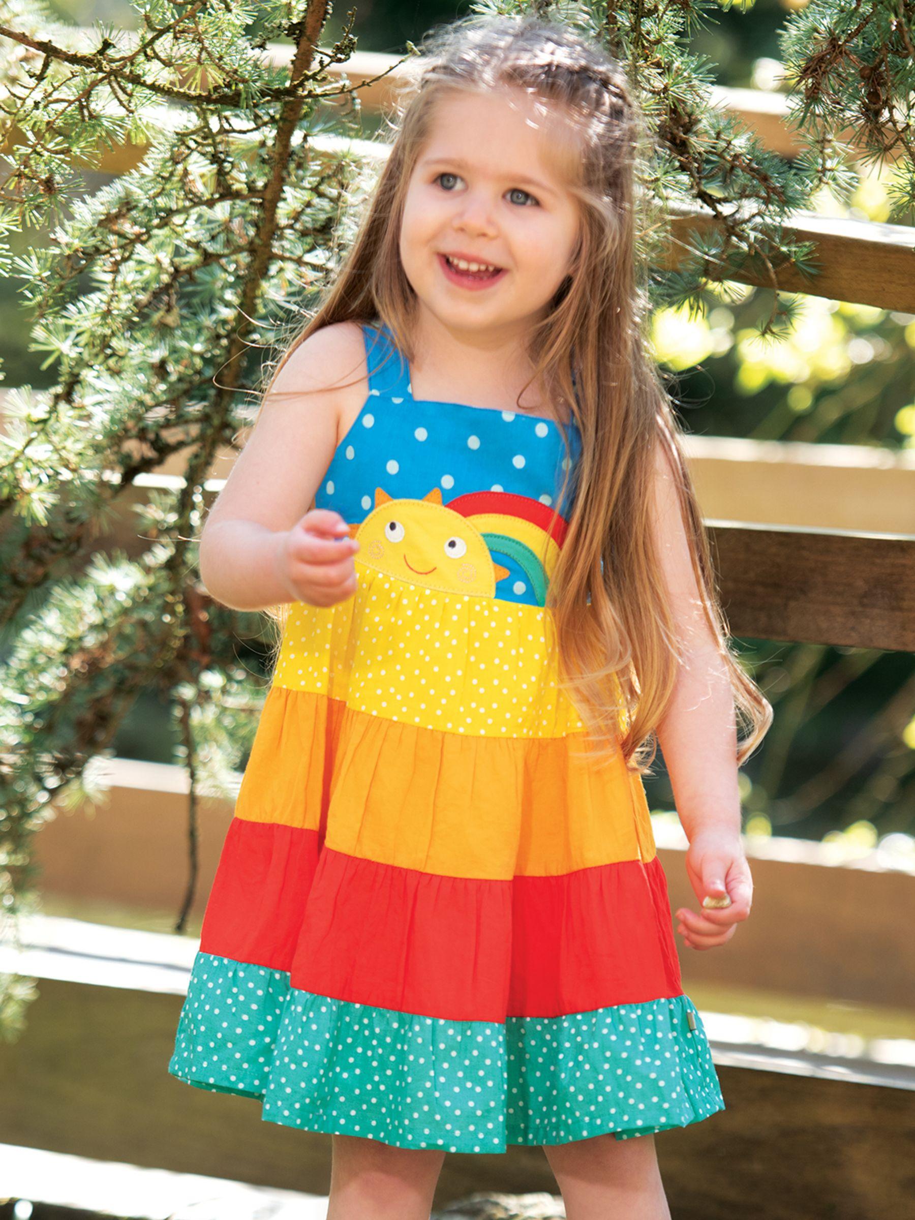 Frugi Frugi Baby GOTS Organic Cotton Mabli Rainbow Sun Dress, Multi
