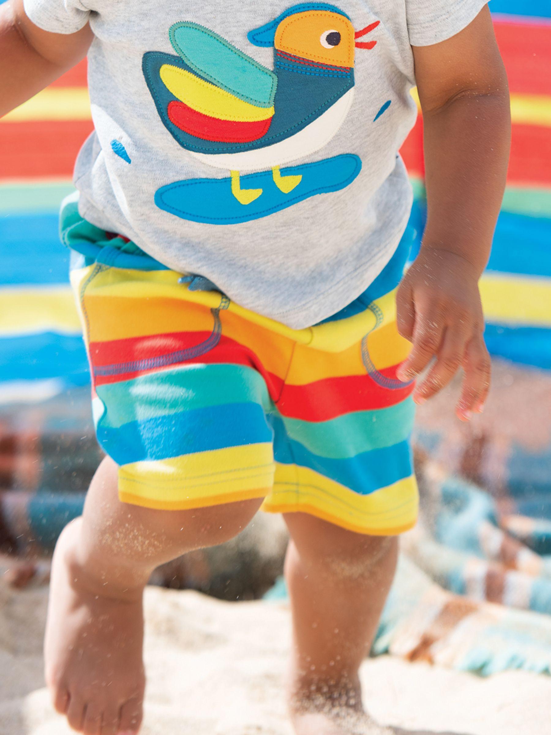 Frugi Frugi Baby GOTS Organic Cotton Rainbow Stripe Shorts, Multi