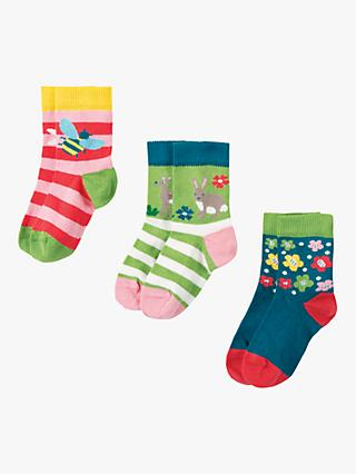 Frugi Baby Rabbit Socks, Pack of 3, Multi