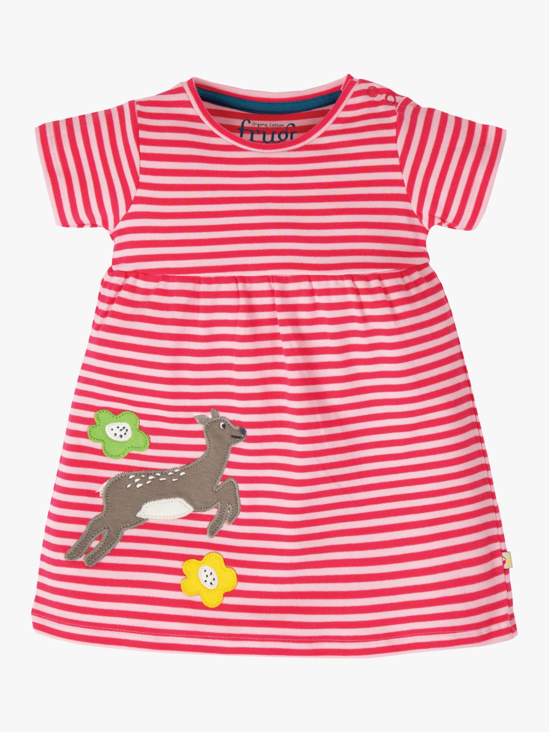 Frugi Frugi Baby Organic Cotton Deer Jersey Dress, Pink