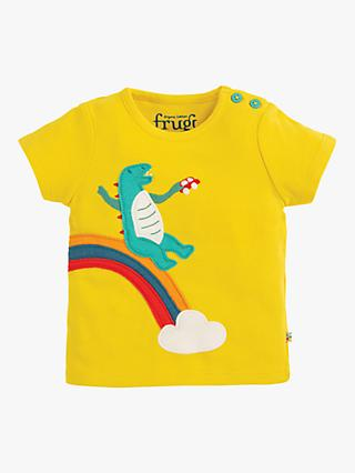 Frugi Baby GOTS Organic Cotton Dinosaur Top, Yellow