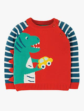 Frugi Baby GOTS Organic Cotton Dinosaur Jumper, Red