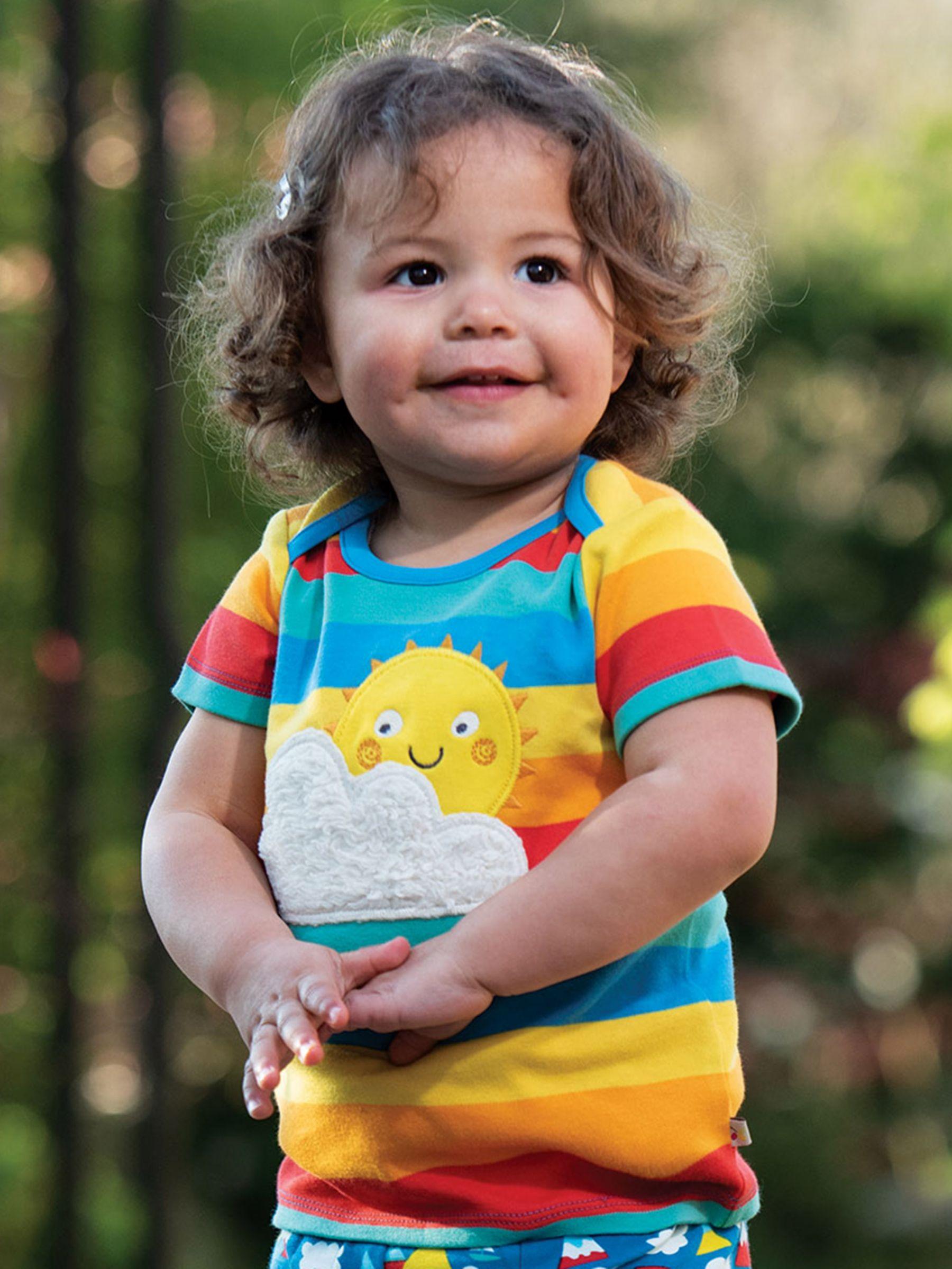 Frugi Frugi Baby GOTS Organic Cotton Rainbow Top, Multi