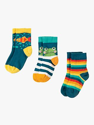 Frugi Baby Fish Socks, Pack of 3, Multi