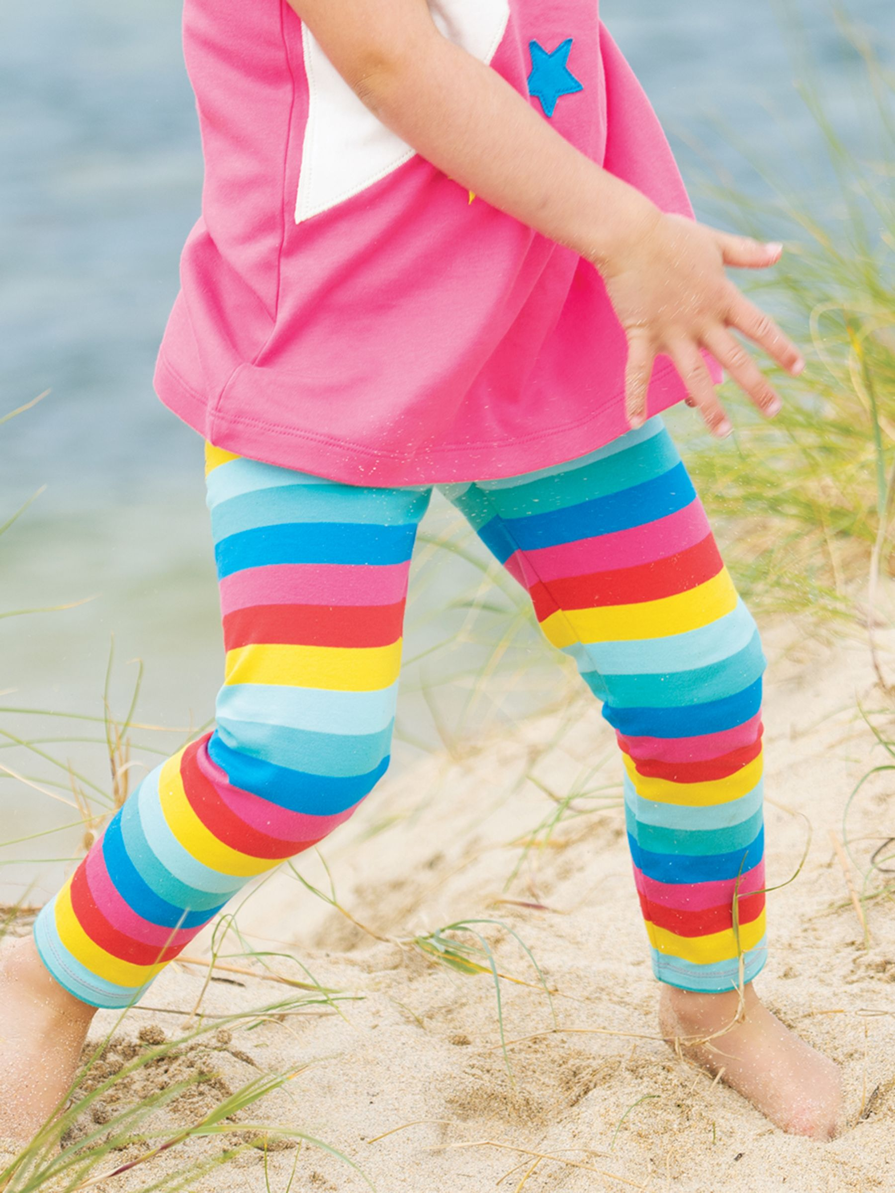 Frugi Frugi Baby GOTS Organic Cotton Rainbow Leggings, Multi