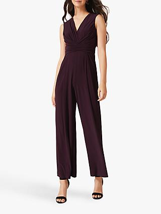 Phase Eight Isabella Pleat Detail Sleeveless Jumpsuit, Grape