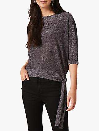 Phase Eight Harper Shimmer Tie Jumper, Charcoal