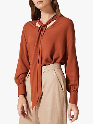 Phase Eight Kinsley Tie Front Blouse, Rust