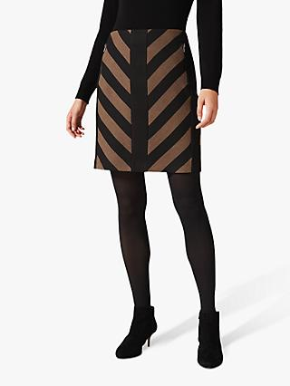 Phase Eight Mirren Chevron Skirt, Black/Camel