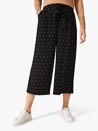 Phase Eight Sasha Spot Culottes, Black/Camel