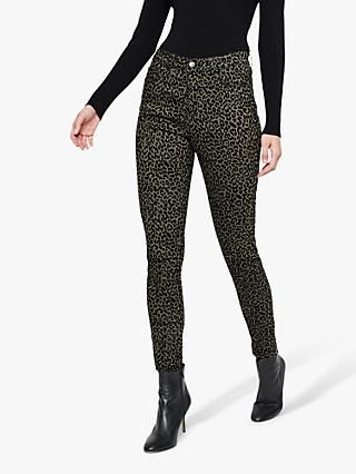 Damsel in a Dress Cherida Leopard Print Flock Jeans, Green/Navy