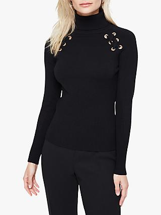 Damsel in a Dress Angelo Eyelet Roll Neck Jumper, Black