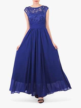 Jolie Moi Boat Neck Lace Bodice Dress
