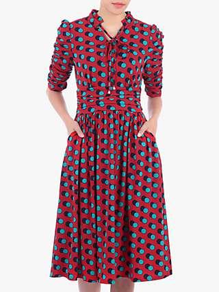 Jolie Moi Print Tie Collar Dress, Red Spot