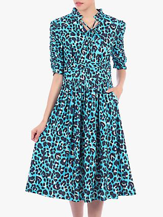 Jolie Moi Animal Print Tie Collar Midi Dress, Blue Leopard