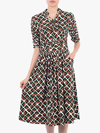 Jolie Moi Print Tie Collar Dress, Geo Multi