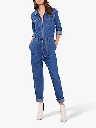 Mint Velvet Denim Zip Boilersuit, Blue