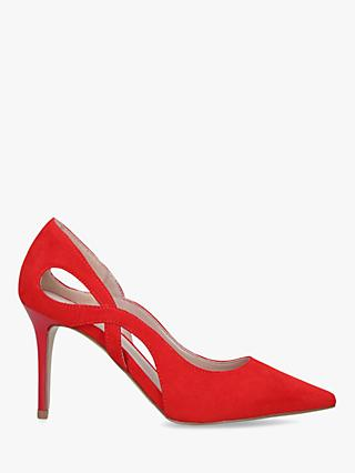 Carvela Karma Cut Out Stiletto Heel Suede Court Shoes, Red