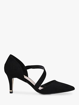 Carvela Kyto Cross Strap Stiletto Heel Suede Court Shoes