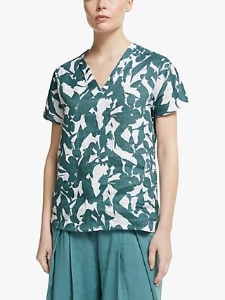John Lewis & Partners Abstract Floral V-Neck Top