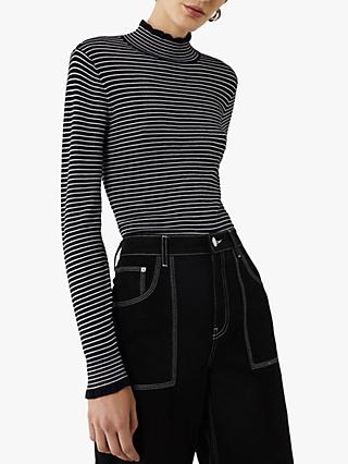 Warehouse Fine Stripe Funnel Neck Top, Black