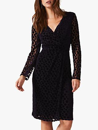 Phase Eight Perrie Spot Dress, Violet
