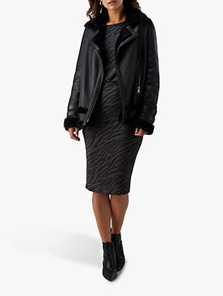 Pure Collection Jersey Slim Blouson Dress, Mono Zebra