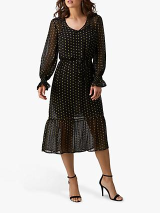 Pure Collection Georgette V-Neck Midi Dress, Black/Gold Texture