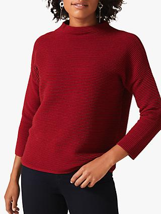 Phase Eight Rosemary Ripple Knit Jumper, Rust